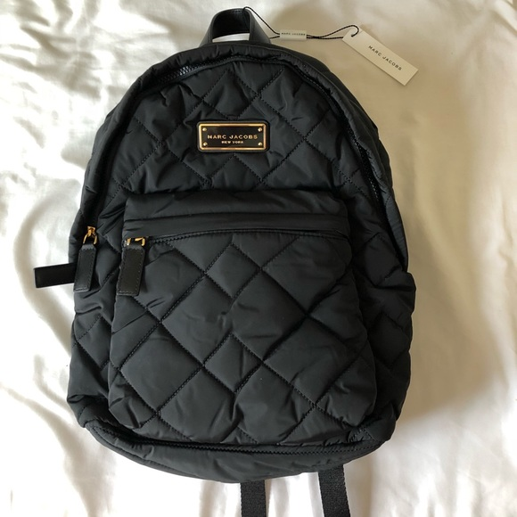 57f0daa6381c3 Marc Jacobs backpack black quilted nylon
